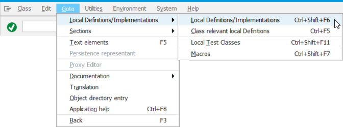 Opening the 'local definitions/implementations' section in the Class Builder
