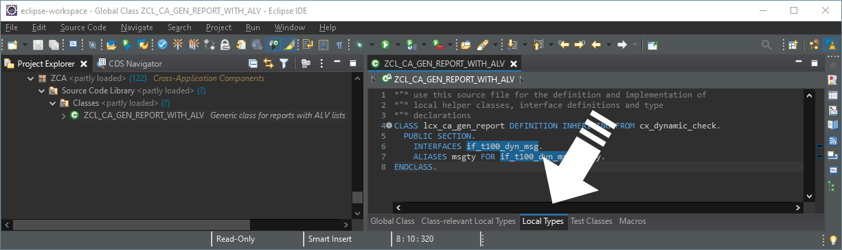 The tab named 'Local Types' in the ABAP Development Tools in Eclipse