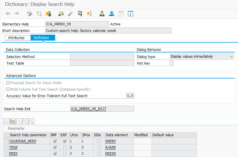 The custom search help in the ABAP Dictionary