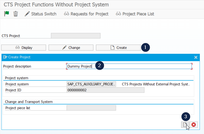 Creating a project with report RSWBO_AUX_PROJECT