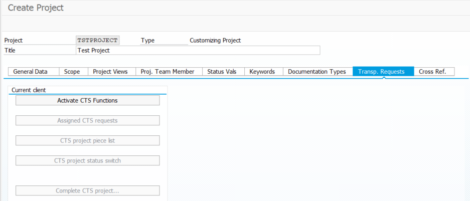 The button 'Activate CTS Functions' transaction SPRO_ADMIN