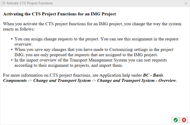 Activating CTS project functions in transaction SPRO_ADMIN