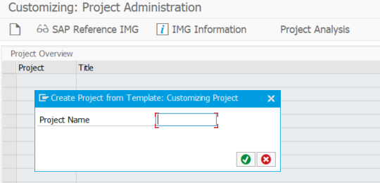 Creating a project with transaction SPRO_ADMIN