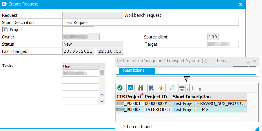Assigning a project during transport request creation in the Transport Organizer
